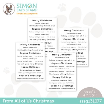 Simon Says Stamp Sentiment Strips FROM ALL OF US sssg131077 Peace On Earth