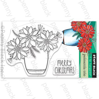 Penny Black Clear Stamps POINSETTIA TRIO 30-867