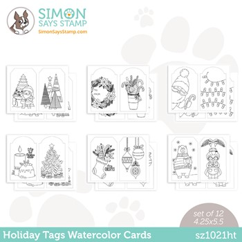 Simon Says Stamp Suzy's HOLIDAY TAGS Watercolor Prints sz1021ht Peace On Earth