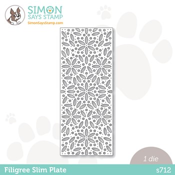 Simon Says Stamp FILIGREE SLIM PLATE Wafer Die s712 Peace On Earth