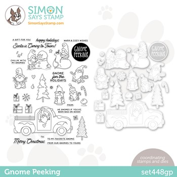 Simon Says Stamps and Dies GNOME PEEKING set448gp Peace On Earth