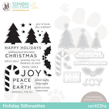 CZ Design Stamps and Dies HOLIDAY SILHOUETTES set453hs Peace On Earth