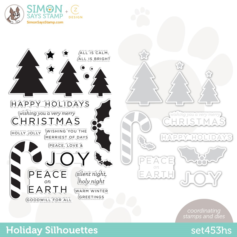 CZ Design Stamps and Dies HOLIDAY SILHOUETTES set453hs Peace On Earth zoom image