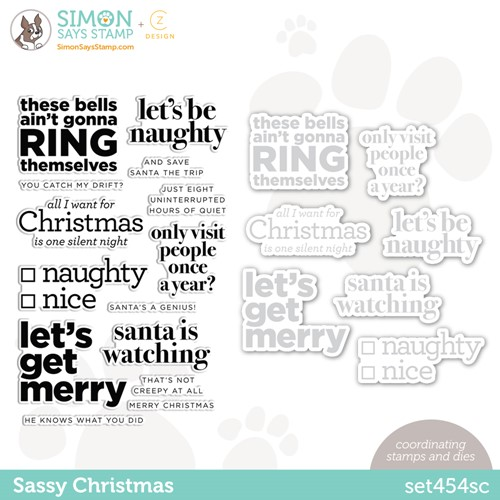 CZ Design Stamps and Dies SASSY CHRISTMAS set454sc Peace On Earth Preview Image
