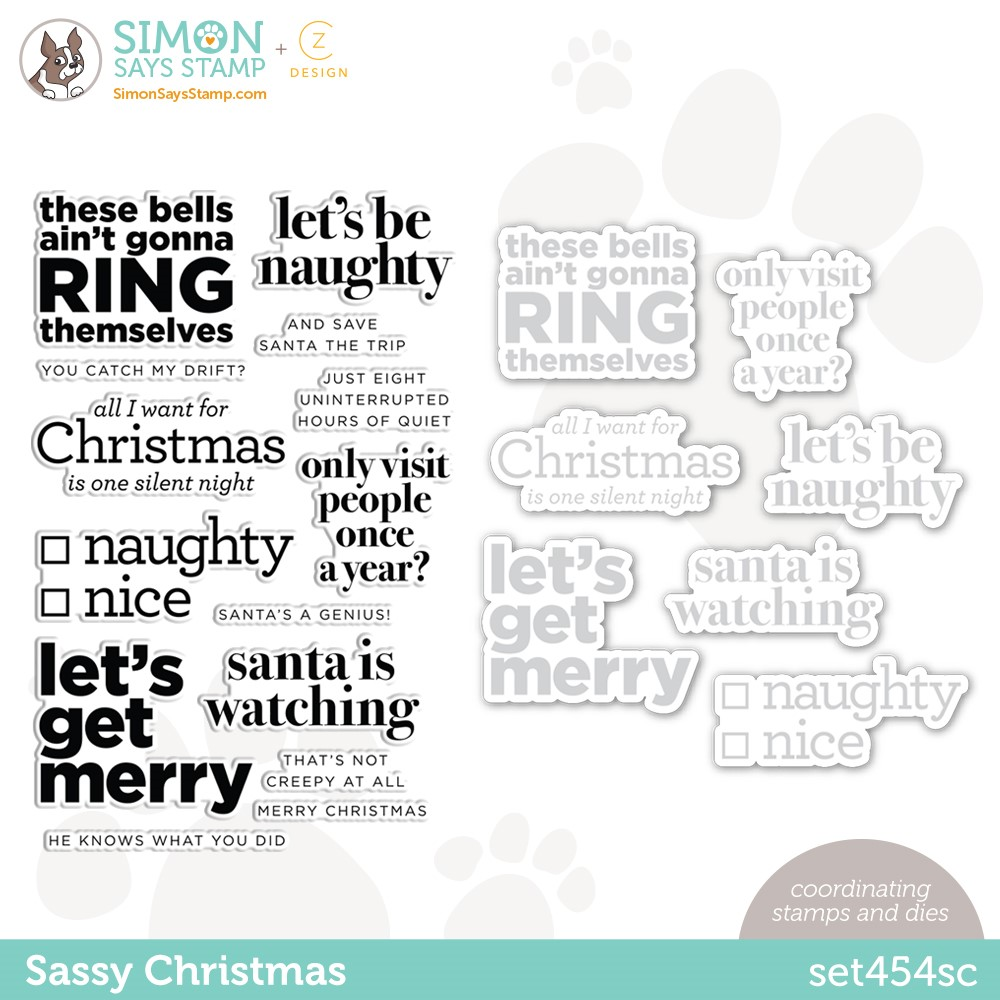 CZ Design Stamps and Dies SASSY CHRISTMAS set454sc Peace On Earth zoom image