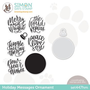 Simon Says Stamps and Dies HOLIDAY MESSAGES ORNAMENT set447hm Peace On Earth