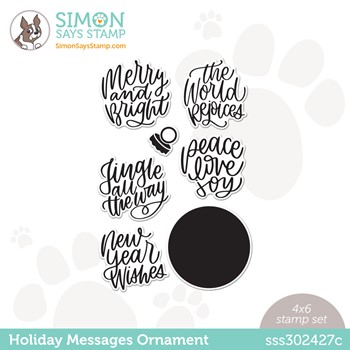 Simon Says Clear Stamps HOLIDAY MESSAGES ORNAMENT sss302427c Peace On Earth