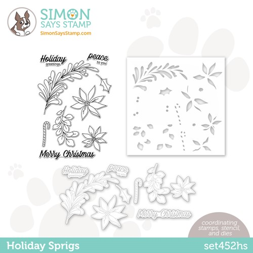 Simon Says Stamps Dies and Stencil HOLIDAY SPRIGS set452hs Peace On Earth Preview Image