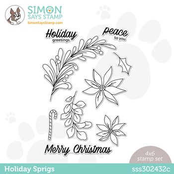 Simon Says Clear Stamps HOLIDAY SPRIGS sss302432c Peace On Earth