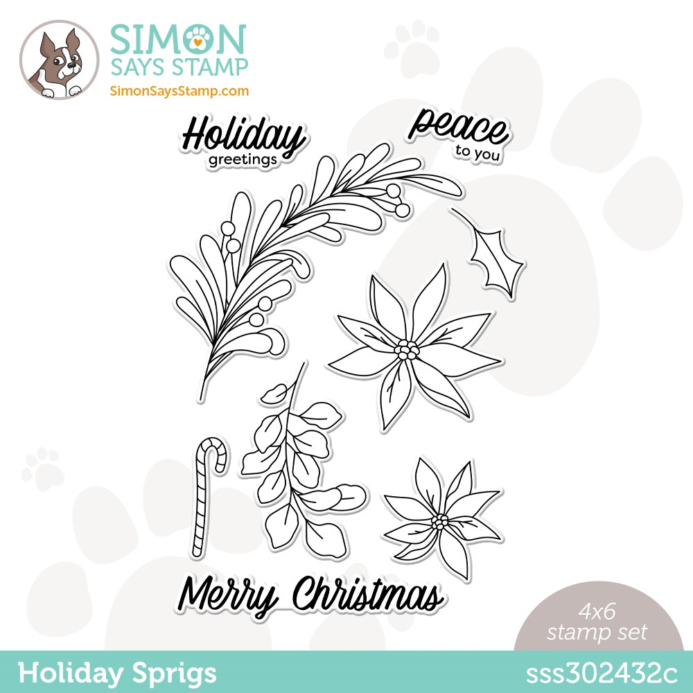 RESERVE Simon Says Clear Stamps HOLIDAY SPRIGS sss302432c Peace On Earth zoom image