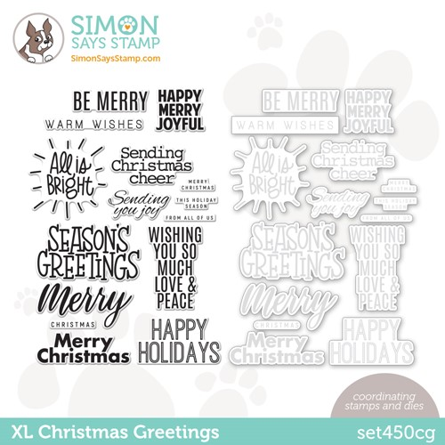 Simon Says Stamps and Dies XL CHRISTMAS GREETINGS set450cg Peace On Earth Preview Image