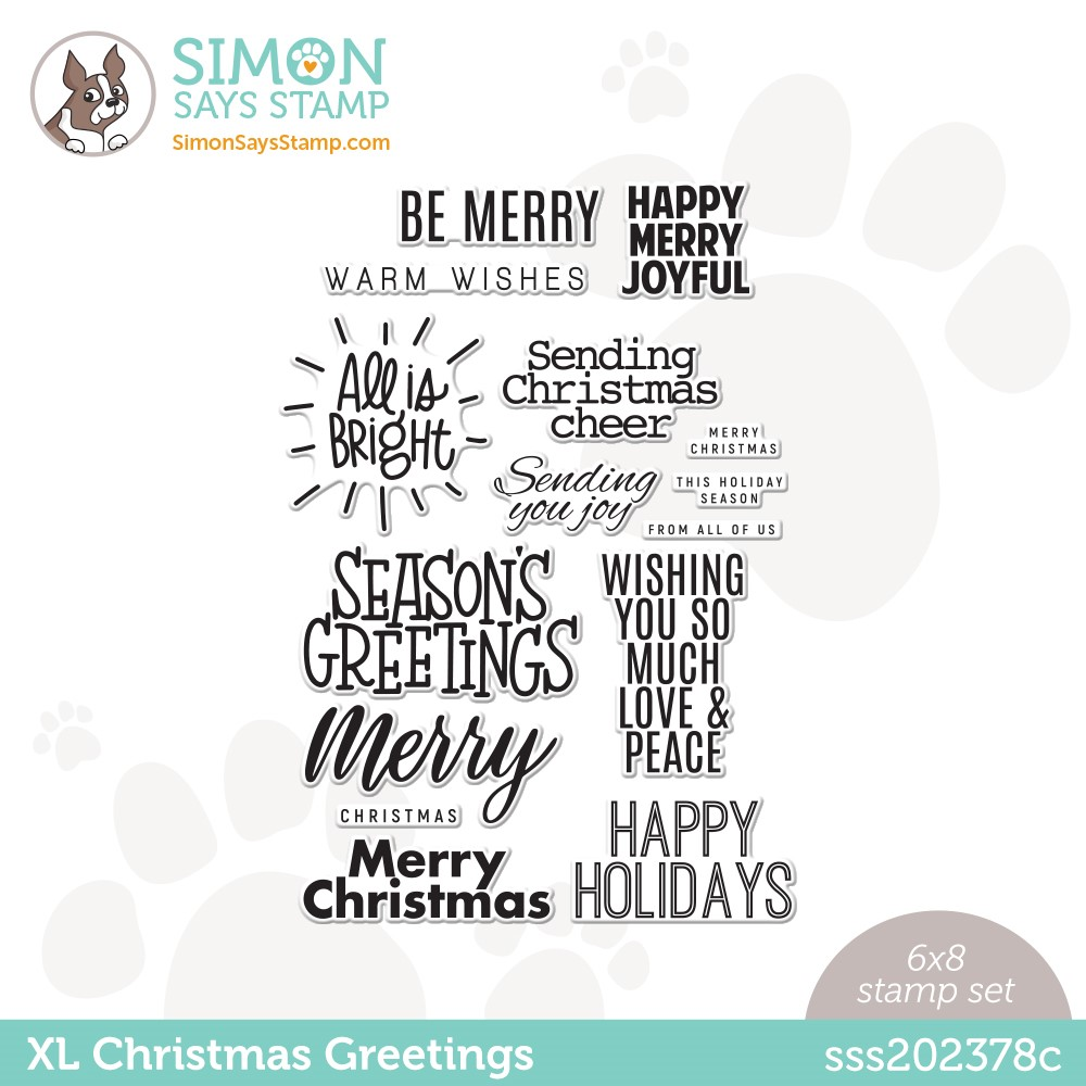Simon Says Clear Stamps XL CHRISTMAS GREETINGS sss202378c Peace On Earth zoom image