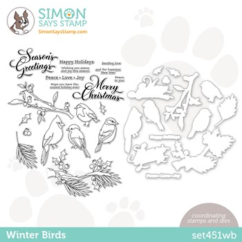 Simon Says Stamps and Dies WINTER BIRDS set451wb Peace On Earth