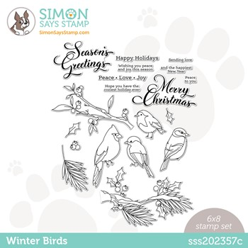 Simon Says Clear Stamps WINTER BIRDS sss202357c Peace On Earth