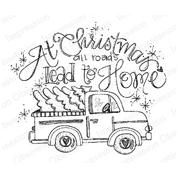 Impression Obsession Cling Stamp ALL ROADS TRUCK E12379