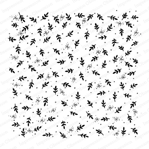 Impression Obsession Cling Stamp SNOWFLAKES LEAVES Cover A Card CC429 Preview Image