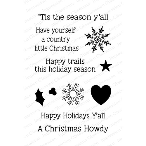 Impression Obsession Clear Stamps COUNTRY CHRISTMAS SAYINGS CL1093 Preview Image
