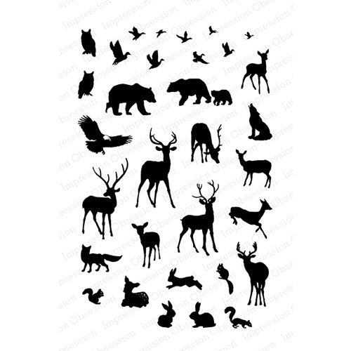 Impression Obsession Clear Stamps MINI WOODLAND ANIMALS CL1095 Preview Image