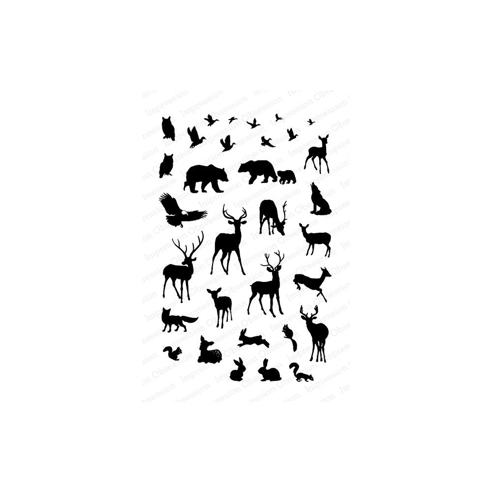 Impression Obsession Clear Stamps MINI WOODLAND ANIMALS CL1095 zoom image