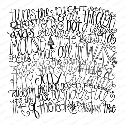 Impression Obsession Cling Stamp HOLIDAY WORDS Cover A Card CC430 Preview Image