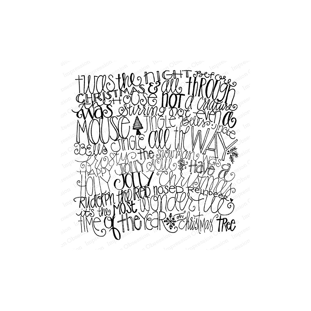 Impression Obsession Cling Stamp HOLIDAY WORDS Cover A Card CC430 zoom image