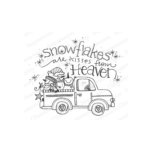 Impression Obsession Cling Stamp SNOWFLAKE TRUCK E12380 Preview Image