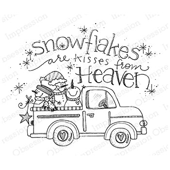 Impression Obsession Cling Stamp SNOWFLAKE TRUCK E12380