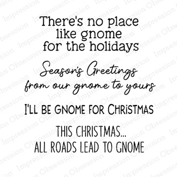 Impression Obsession Clear Stamps GNOME CHRISTMAS SAYINGS CS1089