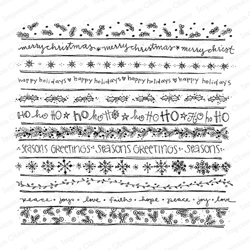 Impression Obsession Cling Stamp HOLIDAY PATTERNS Cover A Card CC431 Preview Image