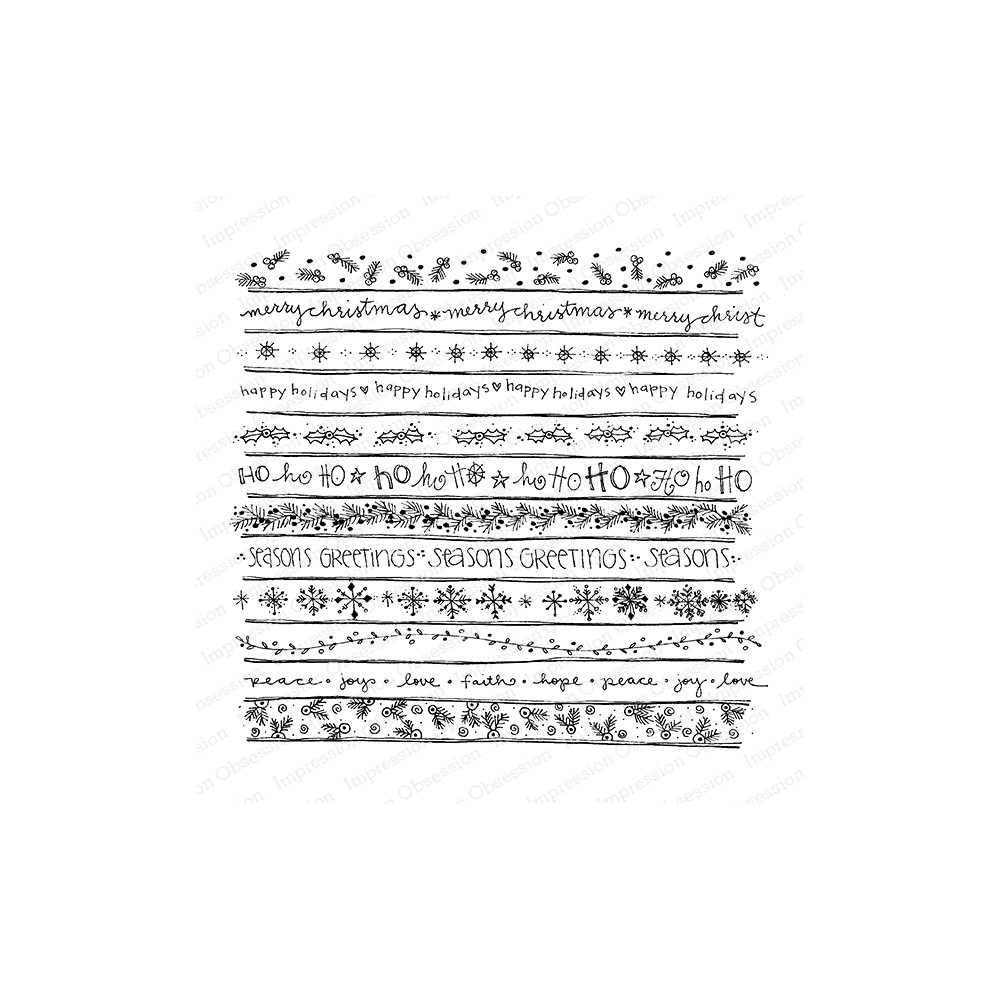 Impression Obsession Cling Stamp HOLIDAY PATTERNS Cover A Card CC431 zoom image