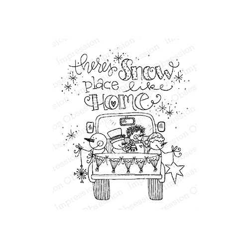 Impression Obsession Cling Stamp SNOW PLACE TRUCK E12378 Preview Image