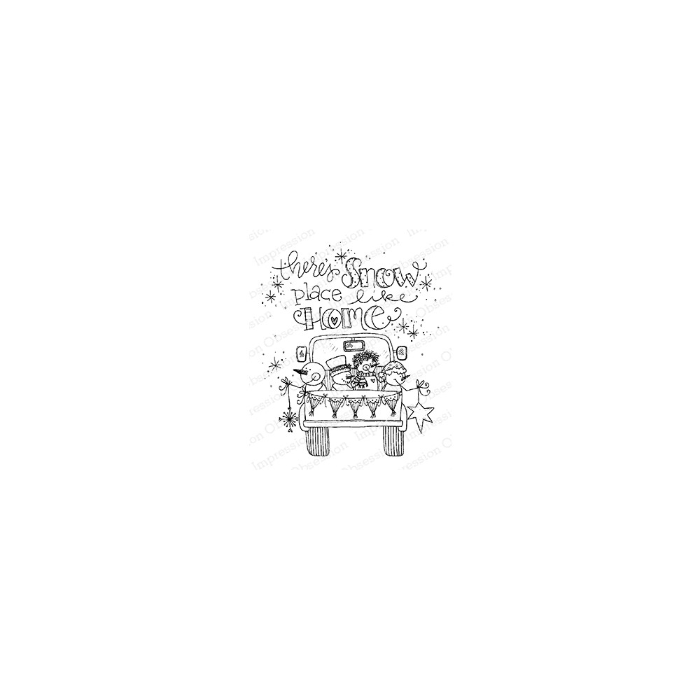 Impression Obsession Cling Stamp SNOW PLACE TRUCK E12378 zoom image