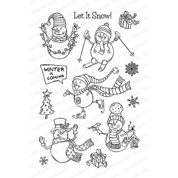 Impression Obsession Clear Stamps SKIING SNOWMEN CL1096