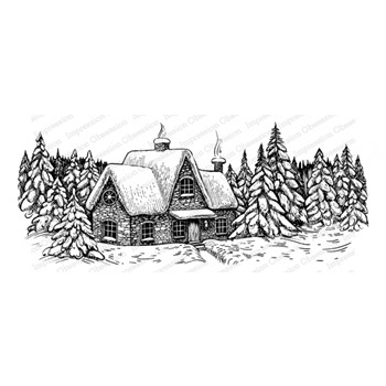 Impression Obsession Cling WINTER COTTAGE 3276-LG