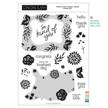 Concord & 9th TRIPLE STEP FLORAL FRAME Clear Stamp Set 11243