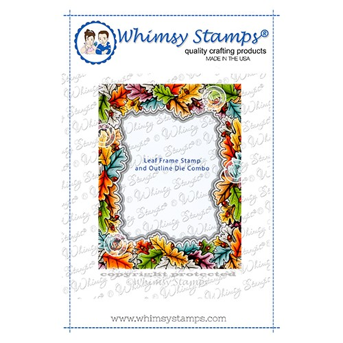 Whimsy Stamps LEAF FRAME Cling Stamp AND OUTLINE DIE COMBO DDB0066 Preview Image