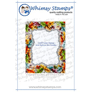 Whimsy Stamps LEAF FRAME Cling Stamp AND OUTLINE DIE COMBO DDB0066