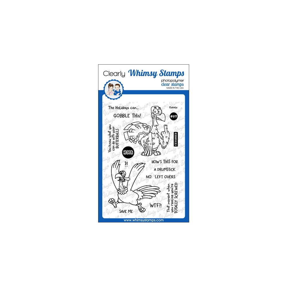 Whimsy Stamps GOBBLE THIS Clear Stamps CWSD395 zoom image