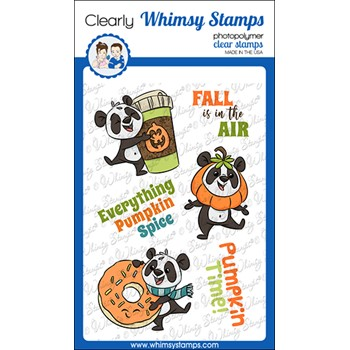 Whimsy Stamps PUMPKIN SPICE PANDAS Clear Stamps KHB190a