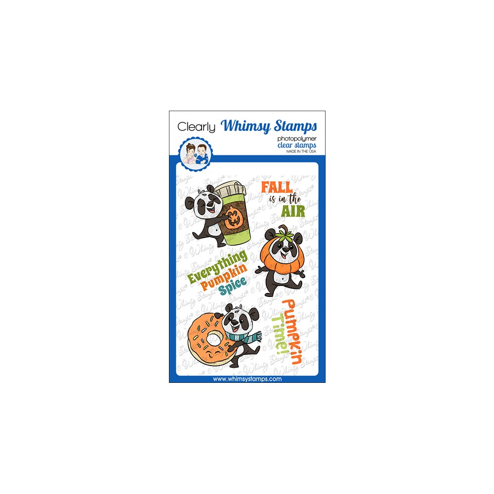 Whimsy Stamps PUMPKIN SPICE PANDAS Clear Stamps KHB190a zoom image