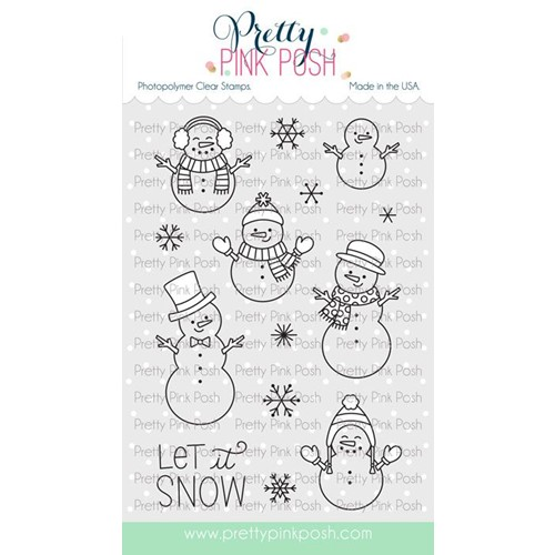 Pretty Pink Posh SNOWMEN FRIENDS Clear Stamps Preview Image