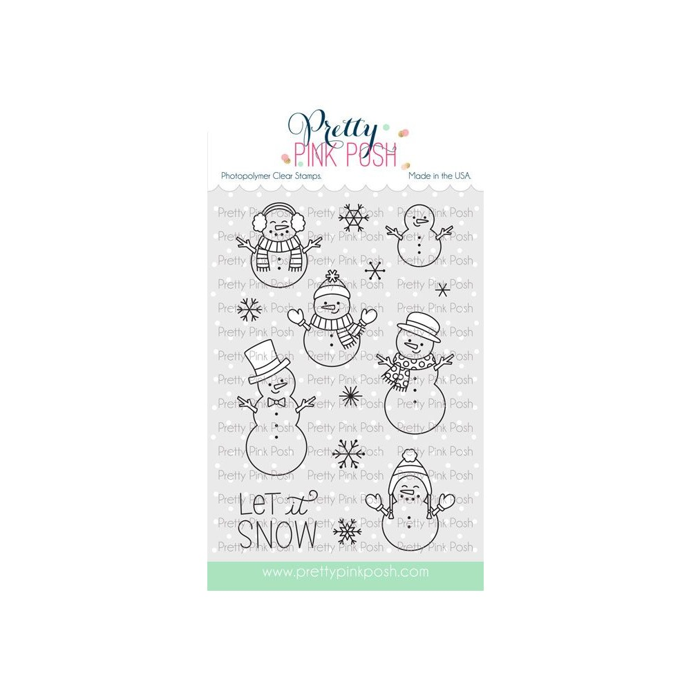 Pretty Pink Posh SNOWMEN FRIENDS Clear Stamps zoom image
