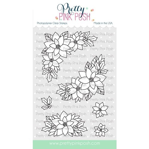 Pretty Pink Posh POINSETTIA CORNERS Clear Stamps Preview Image