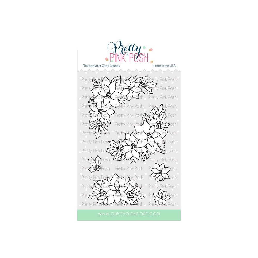 Pretty Pink Posh POINSETTIA CORNERS Clear Stamps zoom image