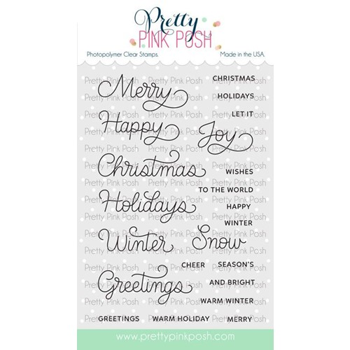 Pretty Pink Posh HOLIDAY SCRIPTS Clear Stamps Preview Image