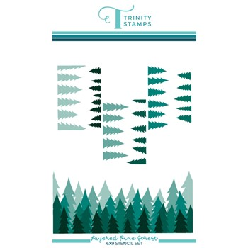 Trinity Stamps LAYERED PINE FOREST 6 x 9 Stencil tss045