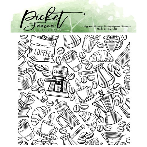 Picket Fence Studios DOWN TO THE LAST CUP Clear Stamp bb174 Preview Image