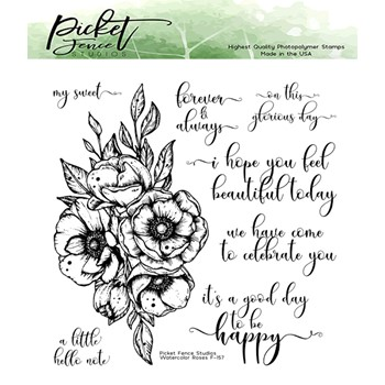 Picket Fence Studios WATERCOLOR ROSES Clear Stamps f157