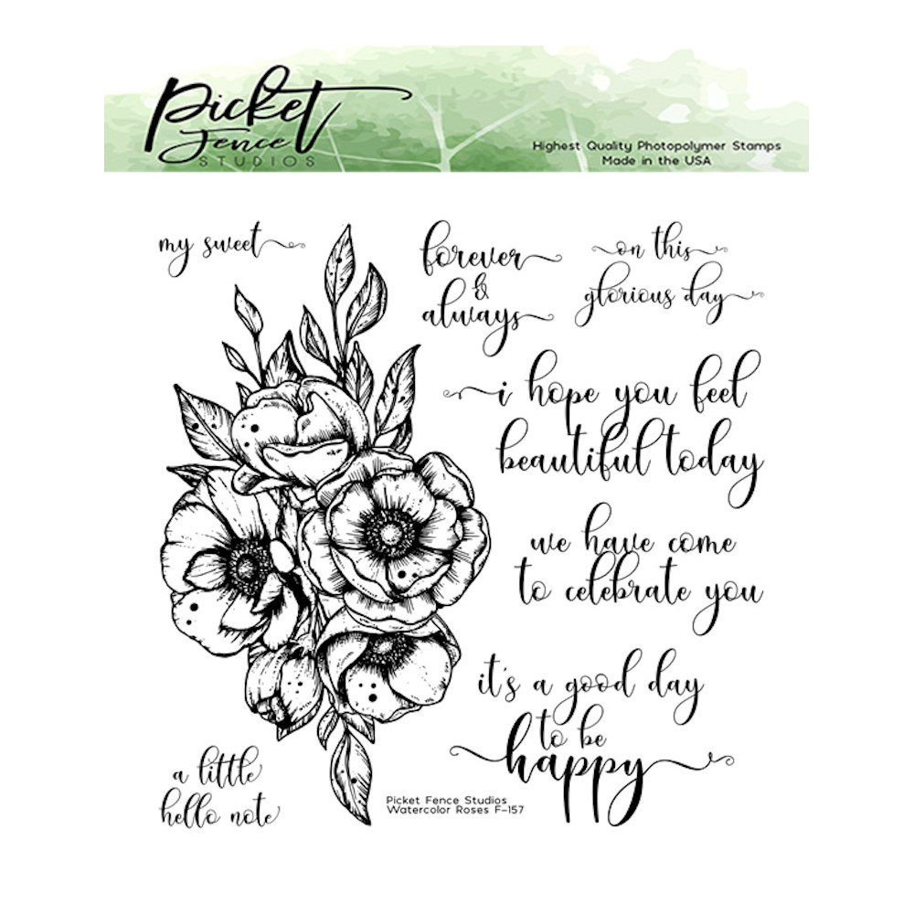 Picket Fence Studios WATERCOLOR ROSES Clear Stamps f157 zoom image