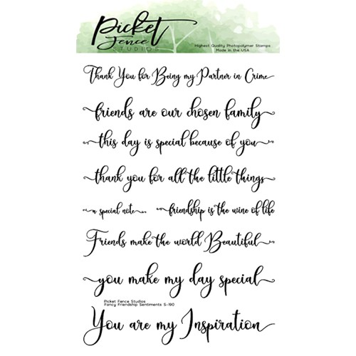 Picket Fence Studios FANCY FRIENDSHIP SENTIMENTS Clear Stamps s190 Preview Image